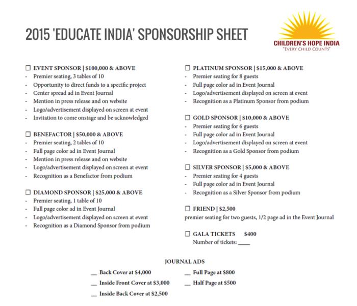Educate India Sponsorship Sheet